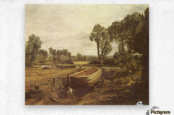 Landscape with a boat and a tree  Metal print