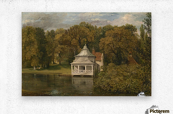 A small white cottage by the river  Metal print
