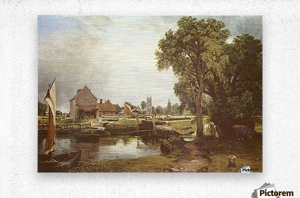 A pond in front of a house  Metal print
