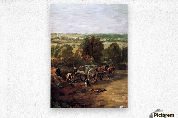 A carriage and a dog at the edge of a city  Metal print