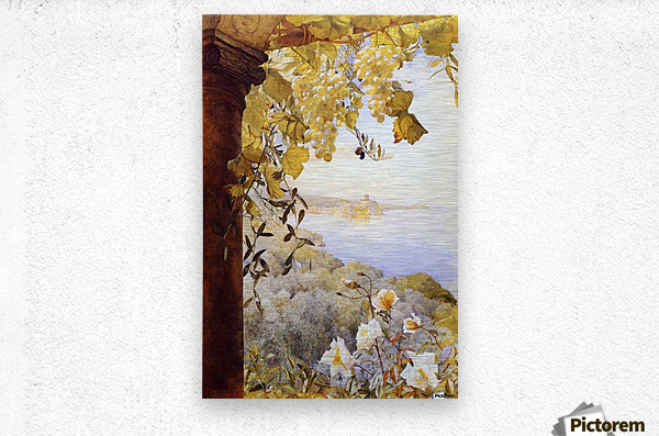 Grapes and flowers by the sea  Metal print
