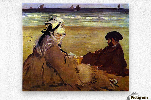 On the beach by Edouard Manet  Metal print