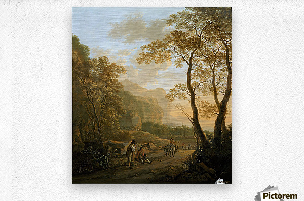 Landscape with resting travellers and oxcart  Metal print