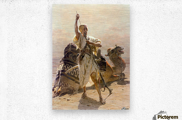 A warrior with a camel  Metal print