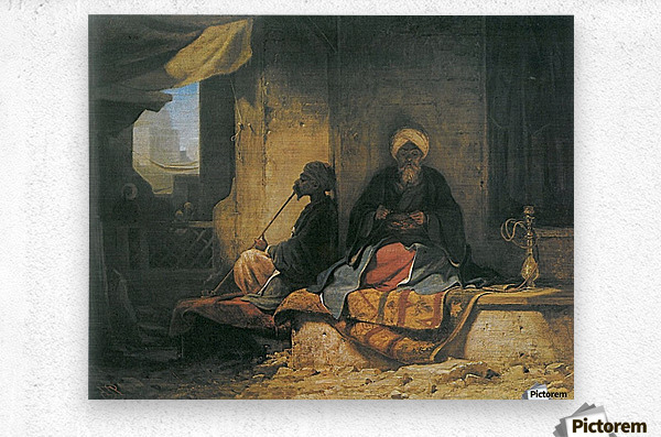 Two Turkish men in a cofee house  Metal print