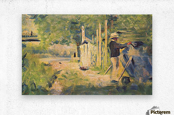 A man removes his boat by Seurat  Metal print