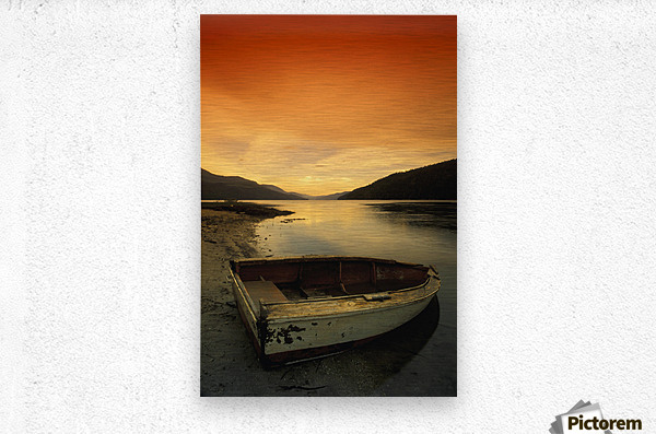 Old Rowboat At Water's Edge With Sunset Background  Metal print