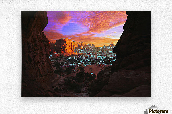 Rocky Buttes Viewed Through Canyon  Metal print