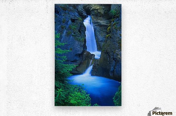 A Beautiful Waterfall, Johnston Canyon, Banff, Alberta, Canada  Metal print
