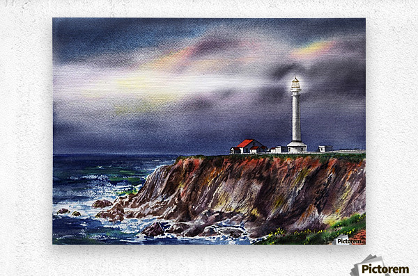 Lighthouse Point Arena At Night  Metal print