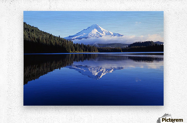 Trillium Lake With Reflection Of Mount Hood, Mount Hood National Forest  Metal print