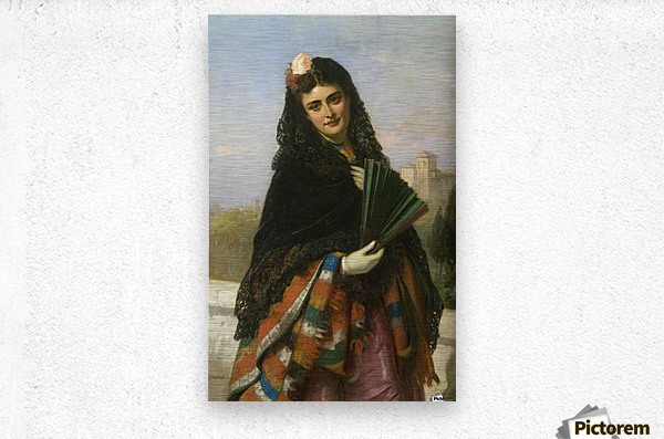 Spanish lady with a fan  Metal print