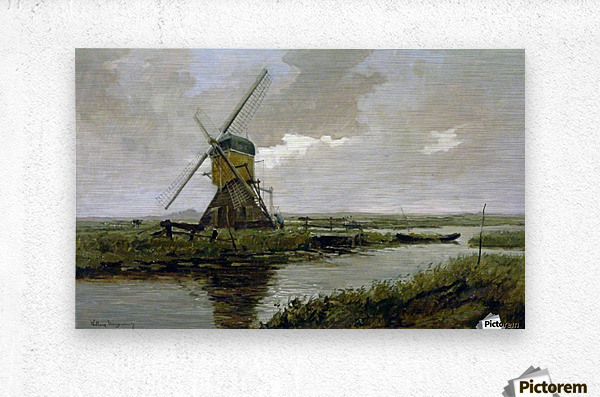 Landscape with a mill  Metal print