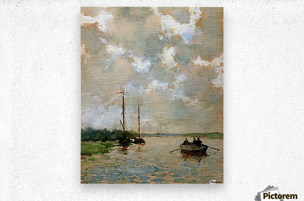 Rowing on the river Sun  Metal print
