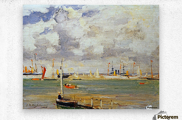 Ships in the harbour  Metal print