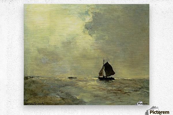 Sailing boat in choppy seas  Metal print