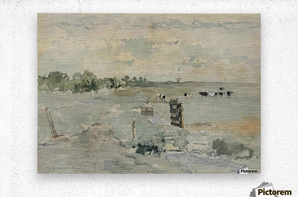 Landscape with cows and trees  Metal print