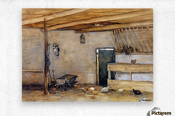Stable with chickens  Metal print