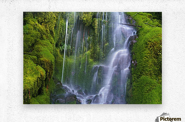 Waterfall Over Moss-Covered Rocks  Metal print