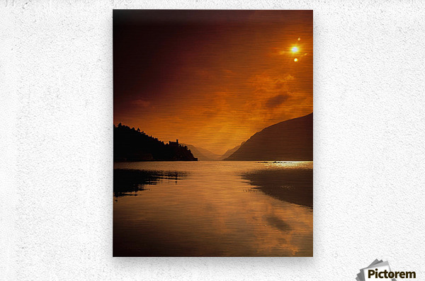 Glenveagh Castle And Lough Veagh, Glenveagh National Park, Co Donegal, Ireland  Metal print