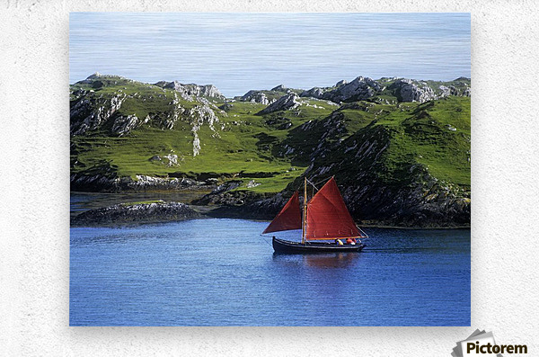 Boat In The Sea, Galway Hooker, County Galway, Republic Of Ireland  Metal print