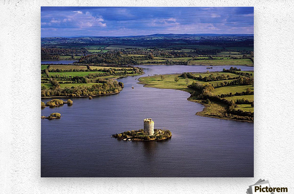 Cloughoughter Castle, Co Cavan, Ireland; Aerial View Of Lough Oughter And 13Th Century Castle Built On The Possible Site Of A Crannog  Metal print