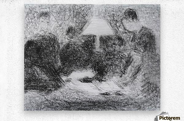 Family evening by Seurat  Metal print