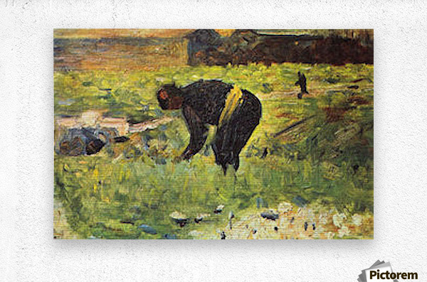 Farmer at work by Seurat  Metal print