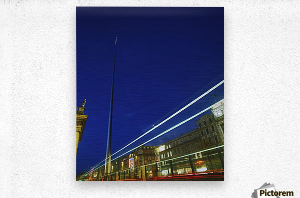Spire Of Dublin, O'connell Street, Dublin, Ireland; Sculpture Against Traffic Light Streams  Metal print
