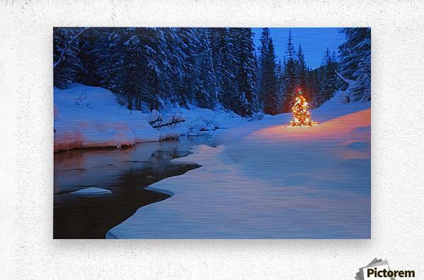 Glowing Christmas Tree By Mountain Stream  Metal print
