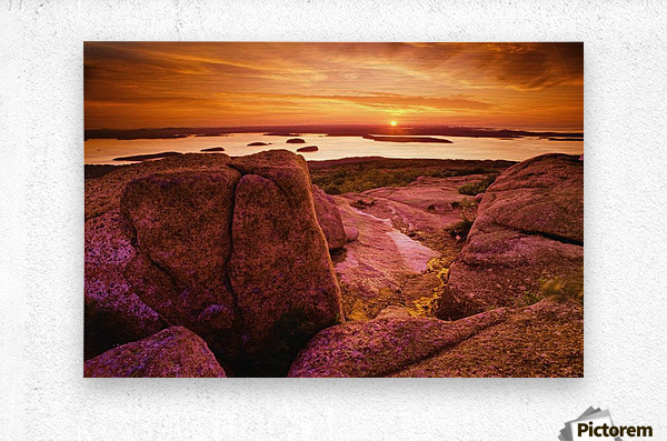 View From Cadillac Mountain At Sunrise, Acadia National Park, Maine, U.S.A  Metal print