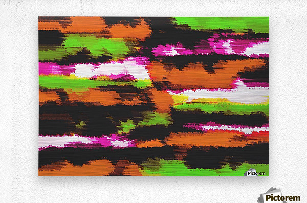 orange black pink green grunge painting texture abstract background  Metal print