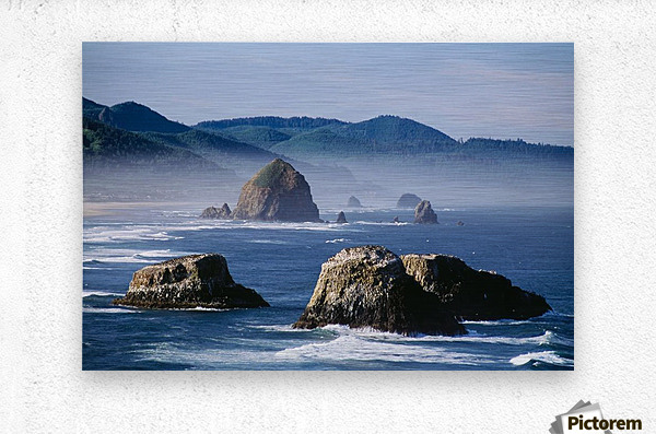Haystack Rock, The Needles And Sea Stacks, Cannon Beach, Oregon, United States Of America  Metal print