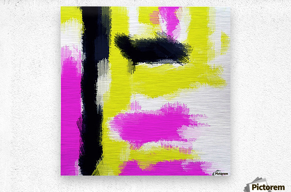 pink yellow and black painting abstract with white background  Metal print