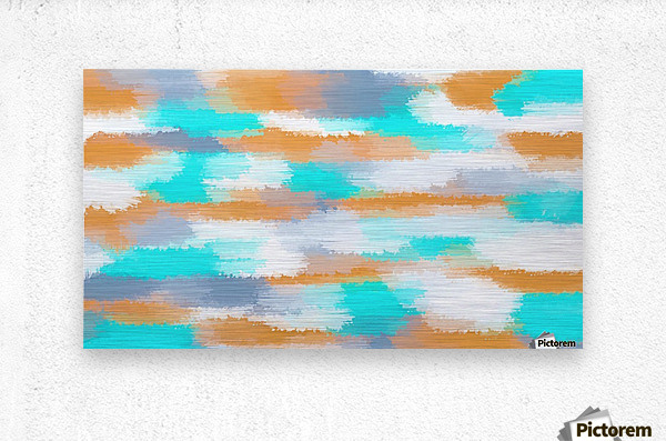 orange and blue painting abstract with white background  Metal print
