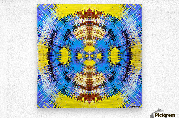 geometric blue yellow and brown circle plaid pattern abstract background  Metal print