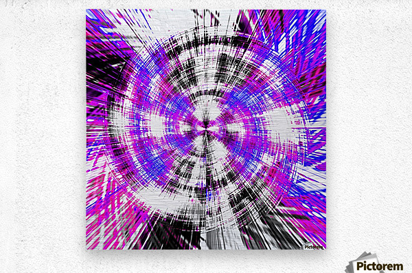 geometric pink blue purple and black circle plaid pattern with white background  Metal print