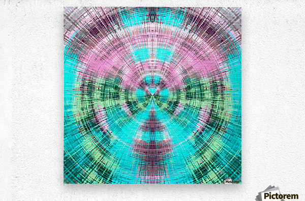 geometric pink blue and green circle plaid pattern abstract background  Metal print