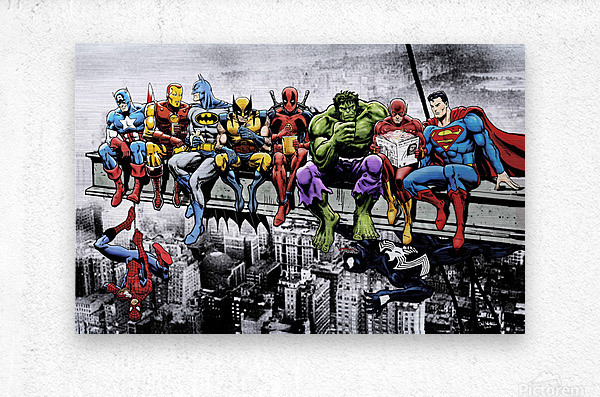 Marvel and DC Superheroes Lunch Atop A Skyscraper Featuring Captain America, Iron Man, Batman, Wolverine, Deadpool, Hulk, Flash & Superman  Metal print