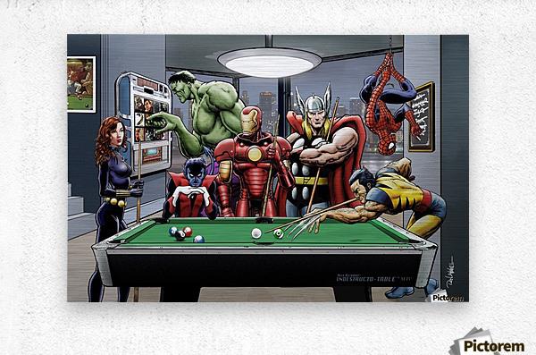 Afterhours: Marvel Superheroes Relax  Playing Pool featuring X-Men & Avengers, Wolverine, Spider-Man, Black Widow, Nightcrawler, Iron Man and Hulk  Metal print