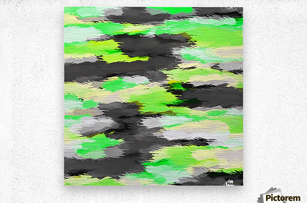 psychedelic camouflage splash painting abstract in green yellow and black  Metal print