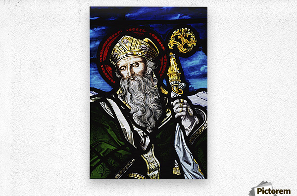 Clogheen, Ireland; St. Patrick On Stained Glass  Metal print