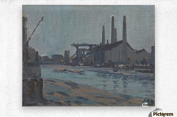 Landscape with industrial buildings by a river  Metal print