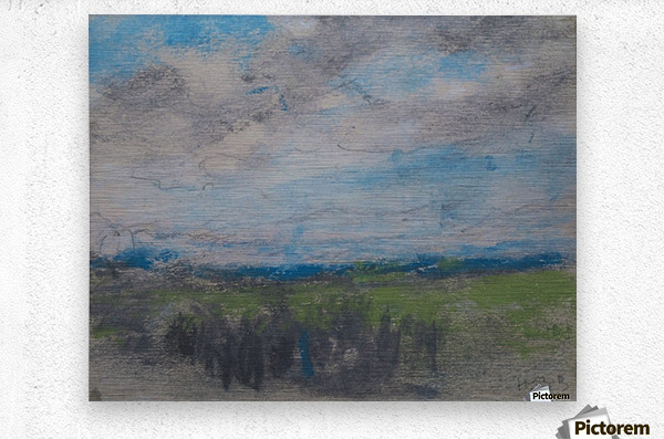 High windy sky over small copse  Metal print