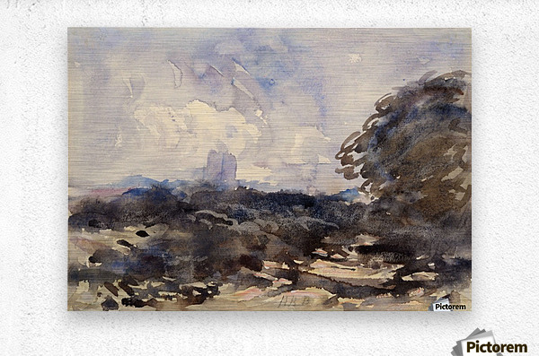 View of a landscape with castle in the back  Metal print