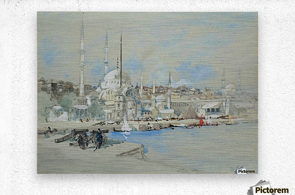 Suleymaniye Mosque with the Sultanahmet Mosque beyond, on the Golden Horn  Metal print