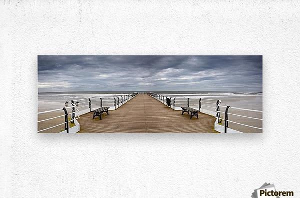 Dock With Benches, Saltburn, England  Metal print