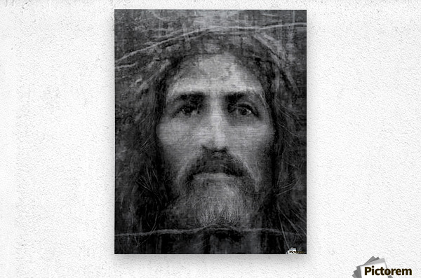 Christ face reconstruction black and white  Metal print