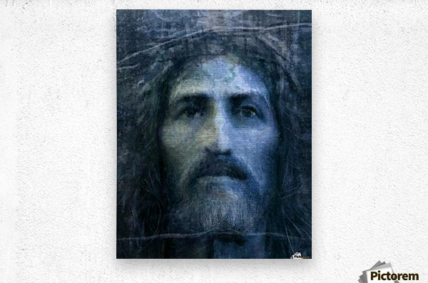 Christ face reconstruction blue  Metal print