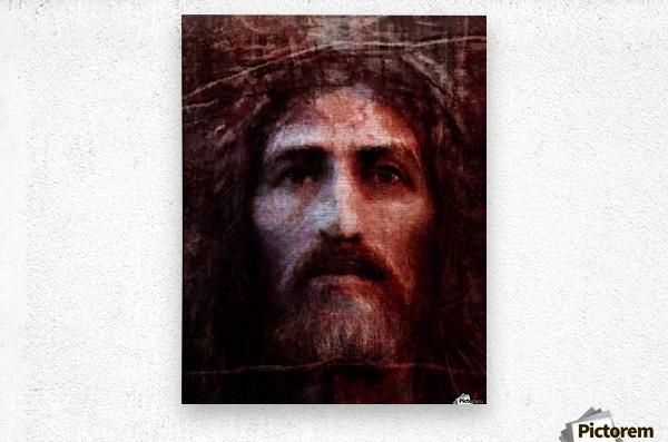 Christ face reconstruction claret  Metal print